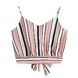 OIKAY T Shirt Bluse Tank Top Damen Camisole Shirt Casual V-Ausschnitt, Mehrfarbig gestreift, selbstgeschnittene Crop-Tops(Rosa,L)
