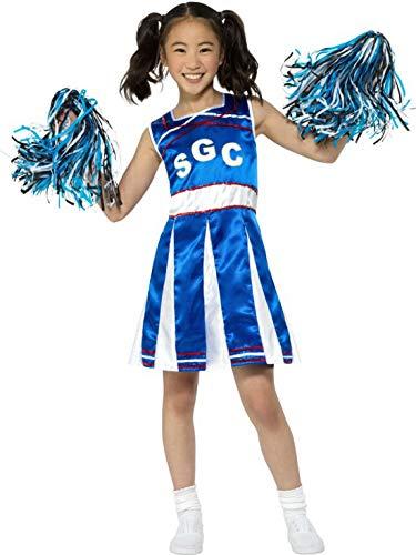 High Kostüm Kind School Cheerleader - Halloweenia - Mädchen Kinder High School Cheerleader Kostüm mit Kleid und Pom Poms, perfekt für Karneval, Fasching und Fastnacht, 140-152, Blau