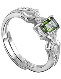 Plata de Ley colorfey verde Gemstone Rings hecho a mano con lujo Natural turmalina de piedras preciosas para las mujeres niñas (ajustable Tamaño L M N O P Q R S T)