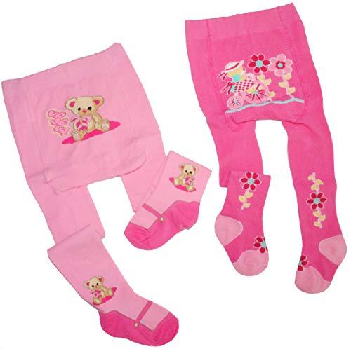 Unbekannt Strumpfhose Größe 86 / 92 1,5 Jahr - 2 Jahre rosa pink Teddy Mädchen Blumen Kinderstrumpfhose -