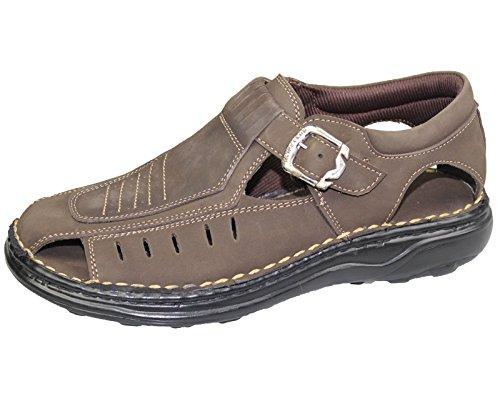 Sandales pour Homme en Cuir Nubuck Fashion d'été plage Mules Sports Casual Chaussures Marron