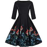 Women's Dress Fashion Women Plus Size 3/4 Sleeve Vintage Dress Floral Print Retro Swing Dress Summer Dress Summer Beach Party Holiday Dress Long Dress (3XL, Multicolor)