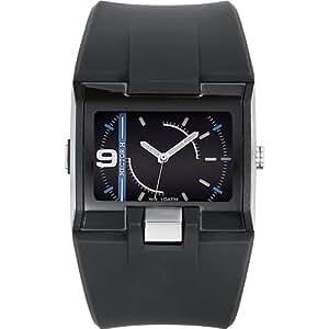 Hector H - 665042 - Montre Homme - Quartz Analogique - Cadran Noir - Bracelet Caoutchouc Noir