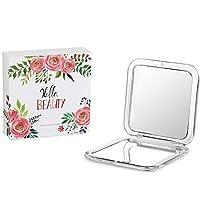 Jerrybox Tragbarer Taschenspiegel Zweiseitiger Kosmetikspiegel mit 1X / 5X Vergrößerung, Spiegel für unterwegs, Klappbarer Kompaktspiegel, Eckig, Silber