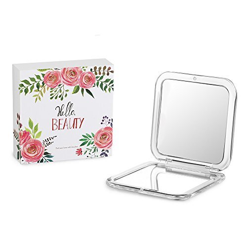 - 41kraJbuRPL - Compact Mirror of 2017, Jerrybox Double-Sided Makeup Mirror, 5× Magnification + 1× Mirror, Pocket-size, Travel, Handbag,Purse Mirror