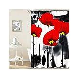 Bishilin Polyester-Stoff Badezimmer Duschvorhang 180x180 Rot Blume 3D Duschvorhang Antischimmel