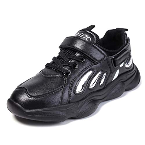 Scarpe da Ginnastica per Bambini Scarpe da Ginnastica per Bambini Autunno con Velcro Scarpe Sportive da Corsa per Bambini Scarpe Casual da Scuola Nere