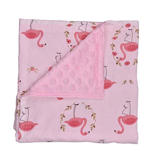 GZD Minky Baby Decke Dot Plüsch Decke Kuscheldecke, Baumwolle weich zu berühren, warm, 80 * 75 cm, 5 Arten verfügbar , powder flamingo (Flamingo Dot)