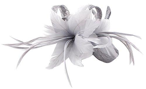 Eozy Fascinator Hut Damen Haarklammer Blumen Feder Minihut Cocktail Kirche Party Kopfschmuck Silber