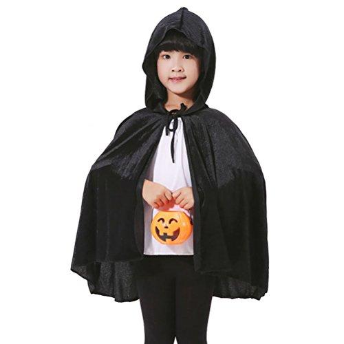 UGUAX Erwachsene Kinder Vampir Umhang Halloween Cosplay Kostüm Death Hoody Umhang Teufel Party Cape Bademantel Masquerade Kostüme, Schwarz 2, Children's Cloak