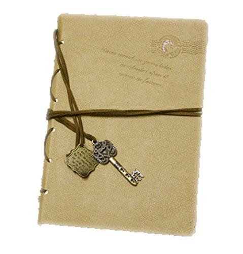 PU aikesi Notebook kreativen Persönlichkeit Retra ATA die Schlüssel bronze Dekoration Notizbuch der Epidermis der 14.5*10.5cm kaki (Ata-100-spezifikationen)