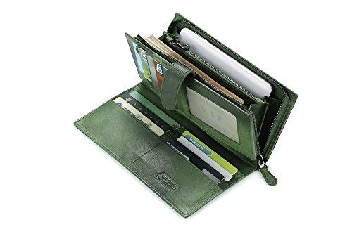 Contacts Frauen echtes Leder Schaffell gewebt Bifold lange Wallet Clutch Geldbörse Grün (Bi-fold Wallet Lange)