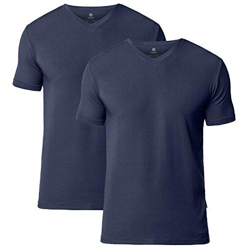 Lapasa Herren T-Shirt, 2er Pack V-Neck T-Shirt für Herren, troknet schnell , T-Shirt für Männer, V-Ausschnitt, Modal, M008, Navy Blau, XL (Regular Fit)