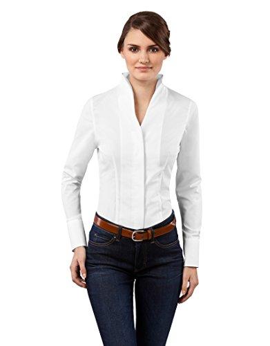 Vincenzo Boretti Camisa de Mujer Elegante y clásica, Ligeramente más angosta (Modern-fit), 100% algodón, Manga-Larga, Cuello cáliz, Lisa - no Necesita Plancha Blanco 38