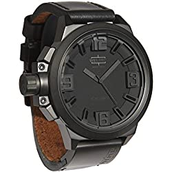Welder Men's Quartz Watch with Black Dial Analogue Display and Black Leather Strap K22-906