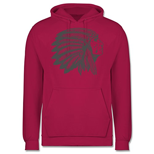 Boheme Look - Indianer Häuptling Handzeichnung - Männer Premium Kapuzenpullover / Hoodie Fuchsia