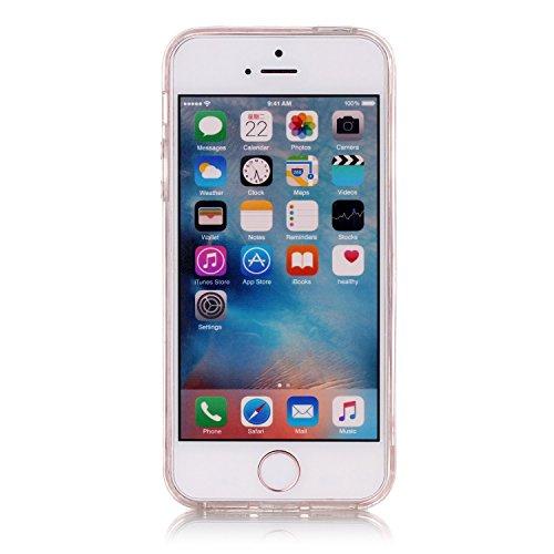 iPhone 5 Hülle, iPhone 5s Hülle, iPhone SE Hülle, E-Lush Beliebte Weiß Löwenzahn Muster für Apple iPhone 5 5S SE Telefonkasten TPU Silikon Rand Acryl Rückseite Abdeckung Handyhülle Clear Transparent S Weiß Feder