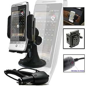 IMOOVE - Support Kit Fixation Auto sur Pare Brise et Ventilation pour HTC HERO et HTC Diamond 2 + Chargeur Auto
