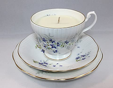 Tea Cup Candle. Vintage Royal Minster English Bone China Trio. Fresh Linen Soy Wax.