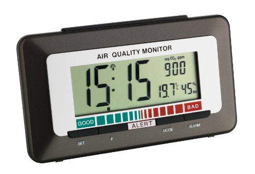 """TFA Dostmann 60.2527.10 """"Dicke-Luft-Monitor"""" Funk-Wecker mit Luftqualitätsmonitor"""