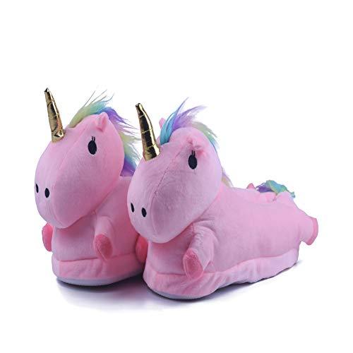 Kimily Unisex - Kinder Damen Jungen Mädchen Einzigartige LED Plüsch Pantoffeln Cartoon Kostüm Unicorn Hausschuhe Tierhausschuhe