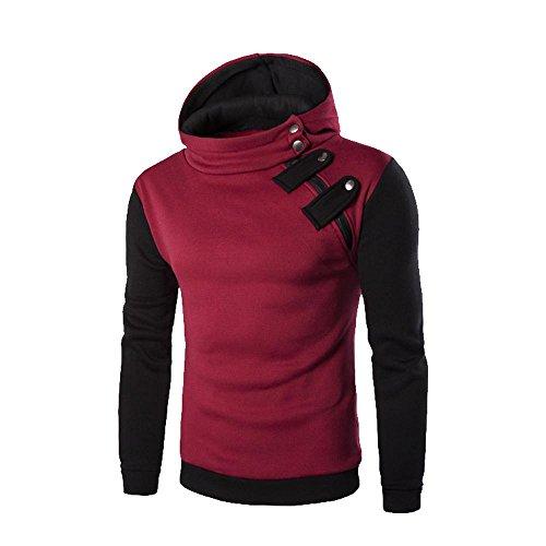 MERICAL Mantel Herren Retro Langarm-Kapuzenshirt Kapuzenpulli Tops Jacke Outwear(X-Large,Red-A)