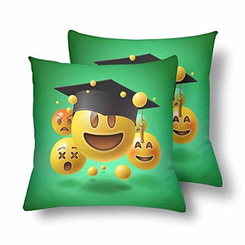 tion Green Smiley Emoticons Emoji Kissenbezug Überwurf Kissenbezug 18x18 Set von 2 Kissenbezügen Schutz für Home Couch Sofa Bettwäsche Deko ()