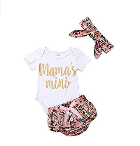 Longfei Baby Mädchen Kurzarm Mantel Mini Tight Jumpsuit + Floral Shorts + Stirnband Kleidung Gr. 90 cm (12-18 Monate), weiß Weiß Floral Tights