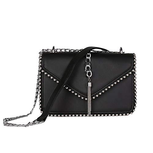 24a283211c Lamdoo Women Ladies Tassel Rivet Mini Chain Crossbody Shoulder Bag Tote Purse  Handbag Messenger Black