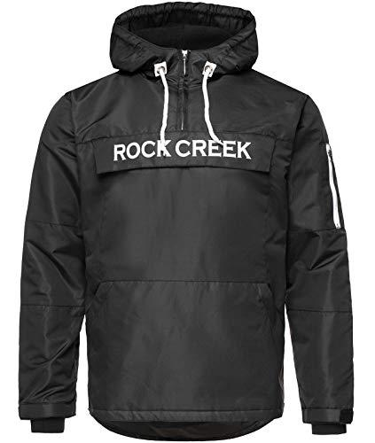 Rock Creek Herren Windbreaker Jacke Übergangsjacke Anorak Schlupfjacke Kapuze Regenjacke Winterjacke Herrenjacke Jacket H-167 Schwarz S