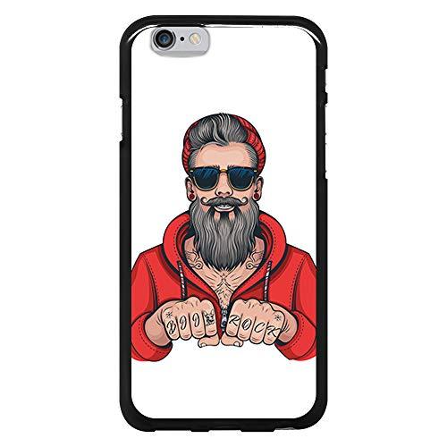 BJJ SHOP Funda Negra para [ iPhone 6 / iPhone 6s ], Carcasa de Silicona Flexible TPU, diseño: Hombre Hipster, Tatuajes con Barba y Gafas de Sol