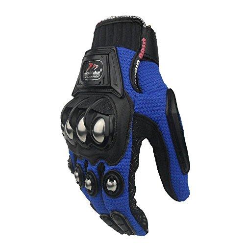 xiujun Stahl Outdoor verstärkte Messing Knöchel Motorrad POWERSPORTS Racing Textil Sicherheit Handschuhe, blau, Large