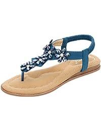 premium selection b5a78 80842 Lucky Mall Frauen Kristall Floral Flache Sandalen, Damen Strand Schuhe  Flip-Flops Arbeitsschuhe Sommerschuhe