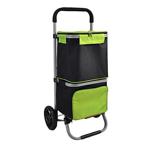 M-Home Einkaufswagen Ultra Light 2 Rad Tragbare Wasserdichte Oxford Tuch Aluminiumlegierung Faltbarer Trolley -L48 * W36 * H98cm (Farbe : Grün) -