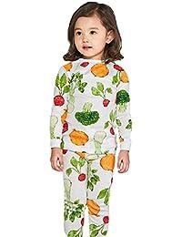 Algodón de niña Conjuntos de pijama 2-7 años camiseta Manga larga Traje de Tops