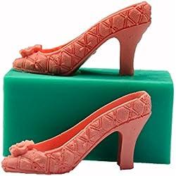 aliciashouse 3d silicona tacón alto molde fondant pastel Lady zapatos molde