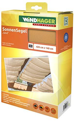 Windhager Sonnensegel für Seilspanntechnik Sonnenschutz Segel 420 x 140 cm, ideal für Pergola oder Wintergarten, SAND 10878