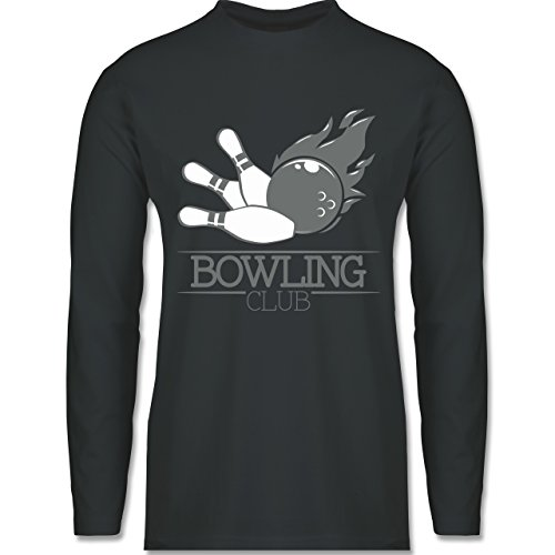 Shirtracer Bowling & Kegeln - Bowling Club Ball Flamme - Herren Langarmshirt Dunkelgrau