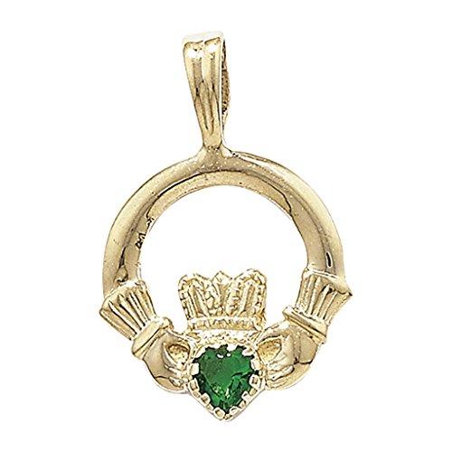 Or 9ct Claddagh vert Agate de pendentif sur un collier maille jaseron