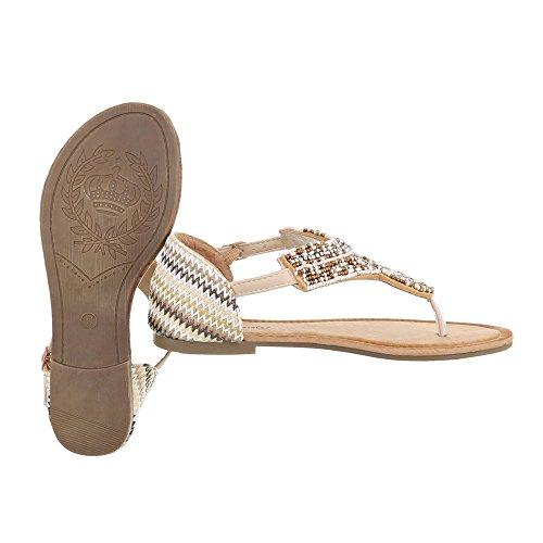 Ital-Design , Escarpins peep-toe femme Beige Multi