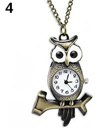 ShopyStore 4 Vintage Antique Bronze Necklace Chain Heart Clock Quartz Pocket Watch Gift - B07FFSTZL7