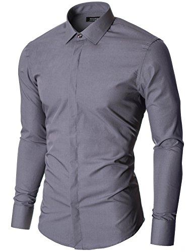 MODERNO - Camicia Classico Uomo (MOD1447LS) Grigio