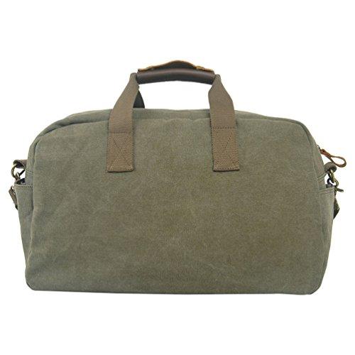 NiSeng Borsone Vintage Borsa da Viaggio per Sport Weekend Bag uomo donne di tela Esercito Verde