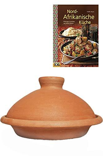 Tajine, original aus Marokko, Inklusive Kochbuch Nord Afrikanische Küche, Tontopf zum Kochen, Targi Ø 30cm, für 4-5 Personen, handgetöpfert aus Marrakesch, frei von Schadstoffe
