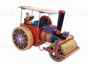robot tole fer jouet mecanique ancien retro- Jouet Rouleau Compresseur a Vapeur Orange Bleu