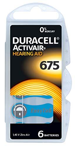 60 Stück (10 Blister) Duracell Typ 675 Hörgerätebatterie Zinc Air P675 PR44 ZL1 mit 2 Stück LUXTOR® Reinigungstücher für Hörgeräte und Otoplastiken