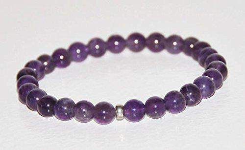 Vera ametista viola naturale braccialetto elastico, in argento sterling, pietra preziosa, impilabile braccialetto, pietra di febbraio, guarigione, lutto gioielli 6mm