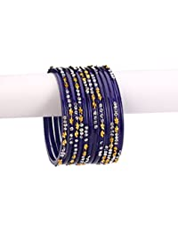Somil Blue Color 12 Bangle Set Ornamented With Golden Figure & White Crystal Stone With Safety Box-DE_2.4 (Size...