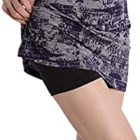 2104ae40ed1 EAST HONG Women s Pocket Tennis Skort Workout Running Sport Golf Skirt with  Inner Shorts Print Stretch