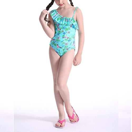 Perfashion Mädchen Ein Stück Badeanzug für Kinder Blumenmuster Verstellbarer Riemen Bikini Rüschen